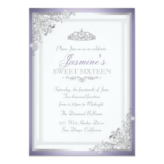Purple Silver Damask & Tiara Sweet 16 Invitation