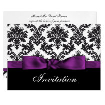 purple silver damask wedding invitation