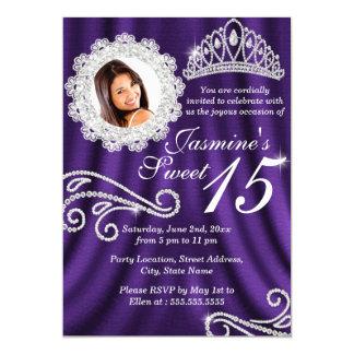 Purple Silver Diamond Tiara Photo Quinceanera 5x7 Paper Invitation Card