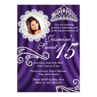 Purple Silver Diamond Tiara Photo Quinceanera Card