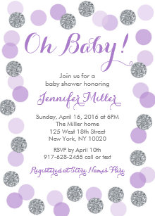 Purple and silver baby shower invitations zazzle purple silver dot baby shower invitations filmwisefo