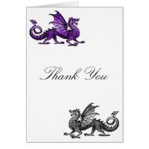 Purple Silver Dragon Thank You Card
