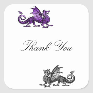 Purple Silver Dragon Thank You Stickers