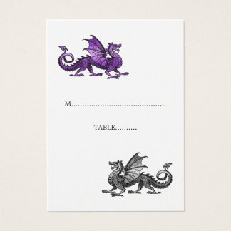 Purple Silver Dragon Wedding Place Card