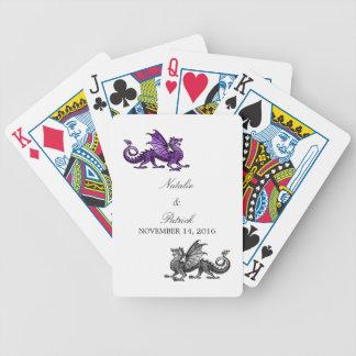 Purple Silver Dragon Wedding Playing Cards