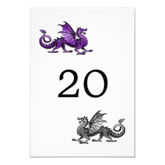 Purple Silver Dragon Wedding Table Card