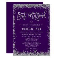 Purple Silver Faux Glitter Bat Mitzvah Invitation