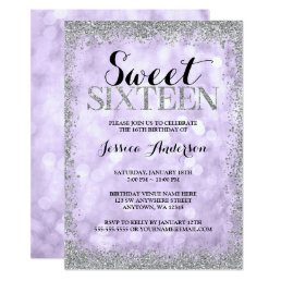 Purple Silver Faux Glitter Lights Sweet 16 Card