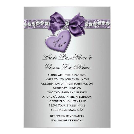 Purple Silver Faux Ribbon Diamonds Heart Locket We Invitation