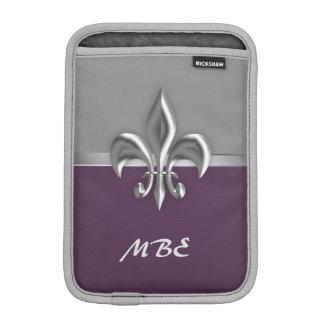 Purple Silver Fleur de Lis iPad Mini Sleeve