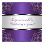 Purple Silver Floral 25th Anniversary Party Event Card