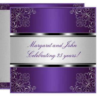 Purple Silver Floral 25th Anniversary Party Event Invitation