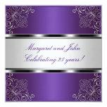 """Purple Silver Floral 25th Anniversary Party Event 5.25"""" Square Invitation Card"""
