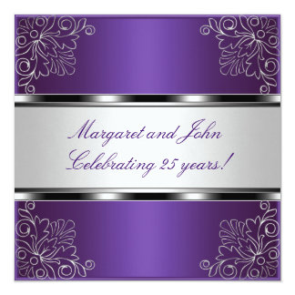 "Purple Silver Floral 25th Anniversary Party Event 5.25"" Square Invitation Card"