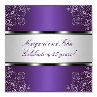 Purple Silver Floral 25th Anniversary Party Event 5.25x5.25 Square Paper Invitation Card