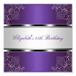 Purple Silver Floral 25th Birthday Party Event Card