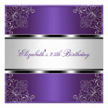 Purple Silver Floral 25th Birthday Party Event Invites