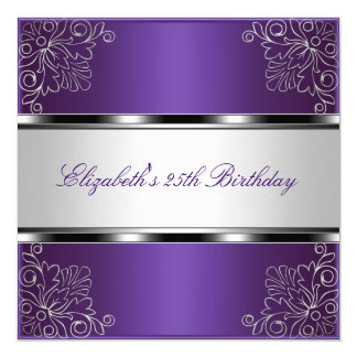 "Purple Silver Floral 25th Birthday Party Event 5.25"" Square Invitation Card"