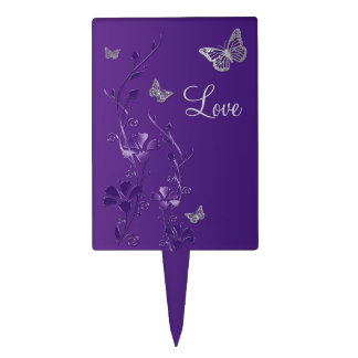 Purple Silver Floral Butterfly Wedding Cake Pick