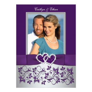 Purple Silver Floral Hearts Photo Wedding Invite