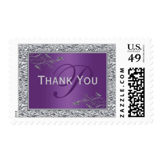 Purple Silver Floral Monogram Thank You Postage