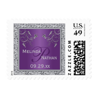 Purple Silver Floral Monogram Wedding Postage