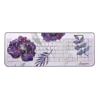 Purple Silver Floral office decor, name Wireless Keyboard