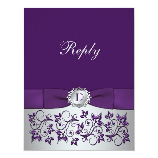 Purple, Silver Floral Scroll Wedding Reply Card