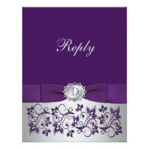 Purple, Silver Floral Scroll Wedding Reply Card Personalized Invitation