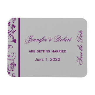 Purple Silver Floral Scroll Wedding Save the Date Magnet