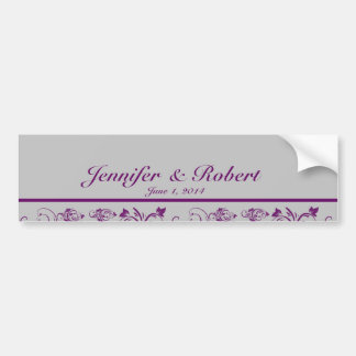 Purple Silver Floral Scroll Wedding Water Bottle Bumper Sticker