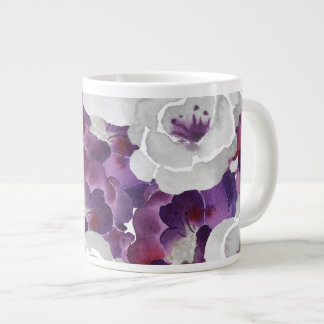 Purple Silver Floral Watercolor art Giant Coffee Mug