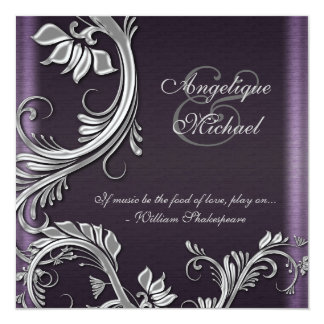Purple silver floral wedding engagement 5.25x5.25 square paper invitation card