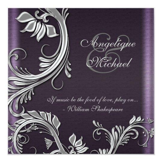 Purple And Silver Wedding Invitations: Purple Silver Floral Wedding Engagement Invitation