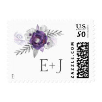 Purple Silver Floral Wedding initials postage 3963