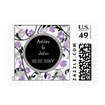 Purple silver floral wedding invitations postage