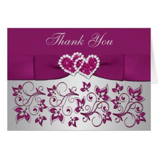 Purple, Silver Floral Wedding Thank You Card 2