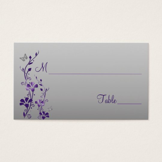 Purple, Silver Floral with Butterflies Place Cards