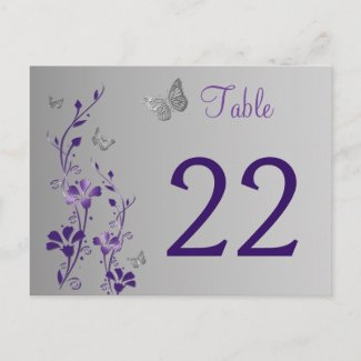 Purple Silver Floral with Butterflies Table Number zazzle_postcard