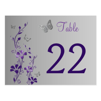 Purple Silver Floral with Butterflies Table Number Postcard