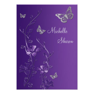 Purple Silver Floral with Buttterflies Bat Mitzvah Custom Invitations