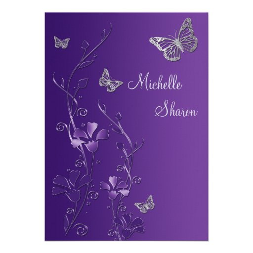 Purple Silver Floral with Buttterflies Bat Mitzvah Custom Invitations