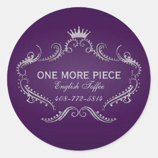 Purple & Silver Frame & Crown Glitter Texture Classic Round Sticker