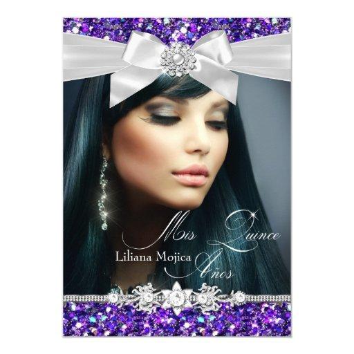Purple Silver Glitter Bow Photo Quinceanera Invite