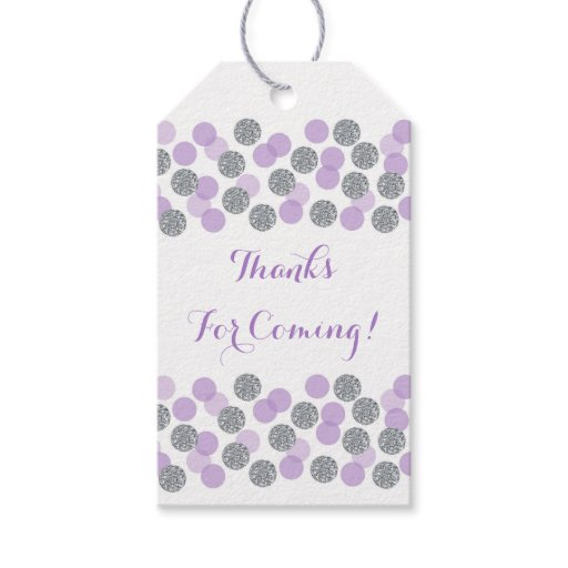 Purple & Silver Glitter Dot Party Favor Tags