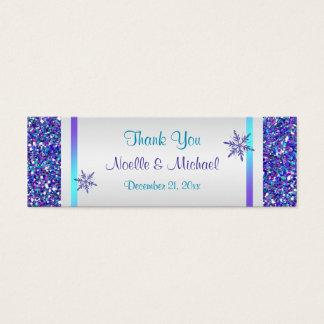 Purple Silver Glitter LOOK Snowflakes Favor Tag