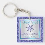 Purple Silver Glitter LOOK Snowflakes Keychain Square Acrylic Keychain