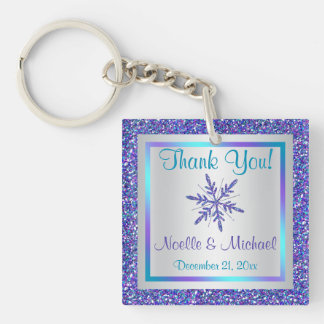 Purple Silver Glitter LOOK Snowflakes Keychain
