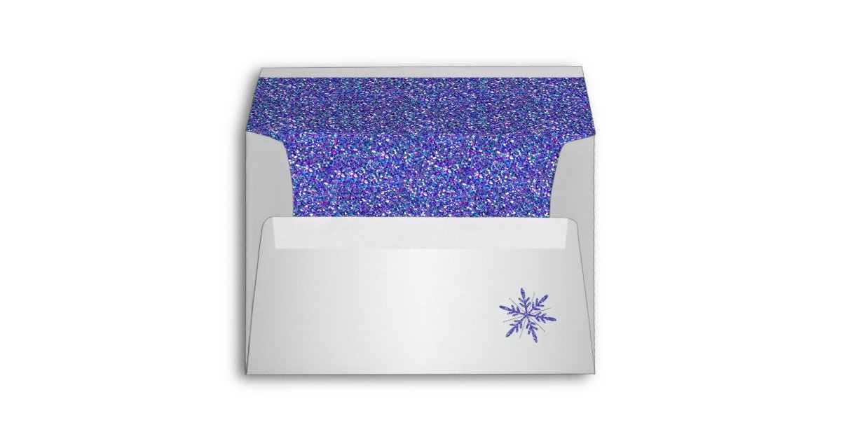 purple silver glitter snowflake a7 return address
