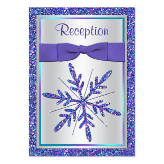 Purple, Silver Glitter Snowflake Enclosure Card Large Business Card
